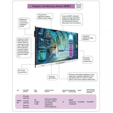 "SMART Board MX065 interaktyvus ekranas su IQ moduliu, ekranas 65"" 2"