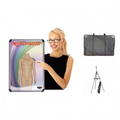 Rinkinys: magnetinė lenta (vienpusė, maža), krepšys, stovas