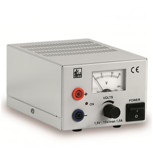 DC maitinimo šaltinis 1,5...15 V, 1.5 A (230 V, 50/60 Hz)