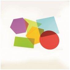 Spalvotų geometrinių figūrų rinkinys