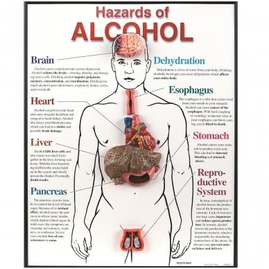 """Įrėminta lentelė """"Alkoholio pavojai"""""""