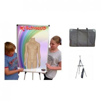 Rinkinys: magnetinė lenta (vienpusė, didelė), krepšys, stovas