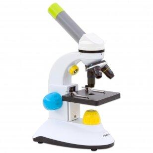 Spalvingas mokomasis mikroskopas