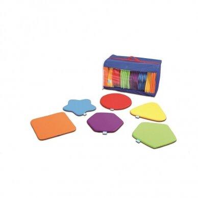 Vaivorykštės spalvų įvairių formų pagalvėlių komplektas, 32 vnt.
